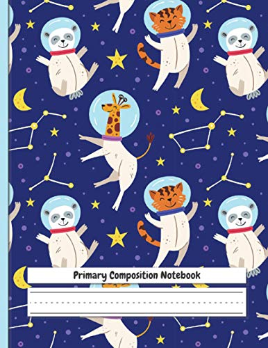 """Primary Composition Notebook: Cute Animals in Space 
