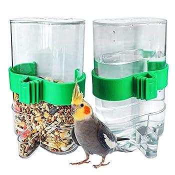 opamoo Abreuvoir Automatique pour Oiseaux 2 Pièces Abreuvoir À Oiseaux en Plastique Transparent Pince à Cage Abreuvoir Automatique pour Perroquet Petit Animal Utilisation d'alimentation