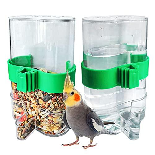 opamoo Vögel Automatischer Wasserspender 2 Stück 220ml Futterspender Vögel Automatischer Transparent Grün Papageien Futterspender Kunststoff Papagei Trinkflasche für Pet Bird Parrot Pigeon Feeding