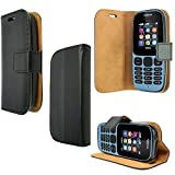 PIXFAB For Nokia 105 2017 - Premium Black Leather Magnetic
