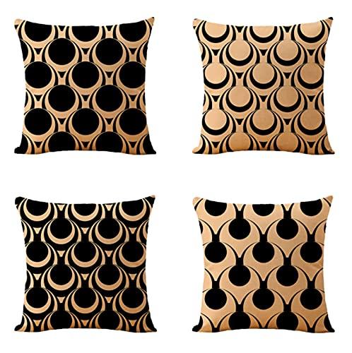 JOVEGSRVA Juego de 4 fundas de cojín decorativas de lino cuadrado para el hogar, oficina, sofá, coche, jardín, 45 x 45 cm