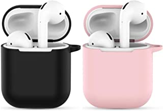Compatible with AIRPODS 1 & 2 USB Charging Case Cover,AirPods 1/2 Accessories Silicone Accessories Protective Portable Protective Silicone Sleeve Skin Case Not for Wireless Charging case -Black+Pink