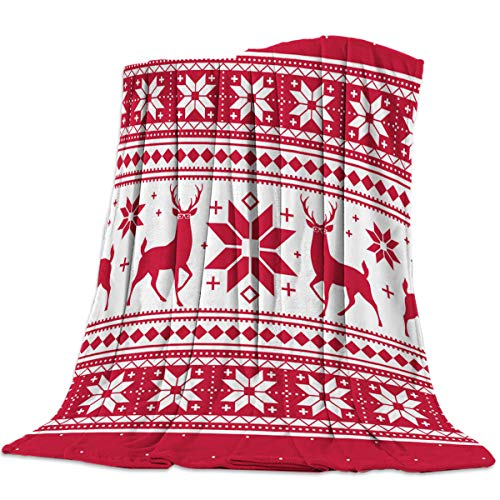 Monroda Christmas Reindeer Flannel Blanke Lightweight Cozy Bed Blanket Soft Throw Blankets Fit Couch Sofa Suitable for All Season 50x80inch, Elk Snowflake Geometric Texture Red