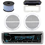 Kenwood Marine Bluetooth Radio  In-Dash Boat Audio Receiver Bundle with Pair of...