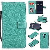Ycloud Billetera Funda para LG V10 Smartphone, PU Cuero Flip Magnético Carcasa con Soporte y Ranura para Tarjeta Flor de Ratán en Relieve (Verde)