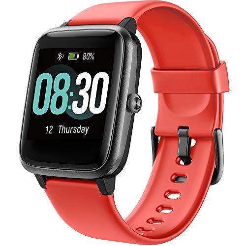 UMIDIGI Smartwatch Fitness Tracker Uwatch3, Armbanduhr Sportuhr Smart Watch für Damen Herren Kinder mit Herzfrequenz Schlaftracker 5 ATM Wasserdicht Schrittzähler Kompatibel mit Android IOS, Rot