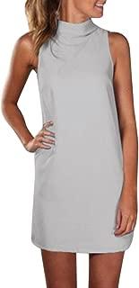 FORUU Summer Dresses for Womens High Neck Blouse Sleeveless Evening Party Mini