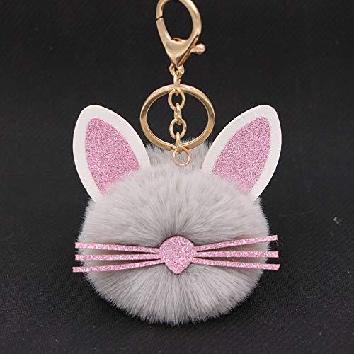 Car Keyring Cute Fluffy Ears Beards Cat Keychain Pompom Many Color Choose...