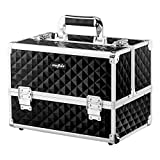 Mefeir Makeup Train Case 12.6'L w/Adjustable Dividers, 4 Trays and 2...