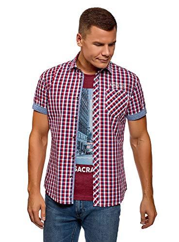 oodji Ultra Hombre Camisa a Cuadros con Dobladillos en Las Mangas, Rojo, сm 41 / ES 50 / M