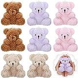 8 Pieces Plush Mini Teddy Bear 4 Inch Stuffed Animal Toys Soft Bear Doll Wedding Present Box Doll Toy for Birthday Wedding Decorations Party Favors Supplies Bag Charm, 4 Colors