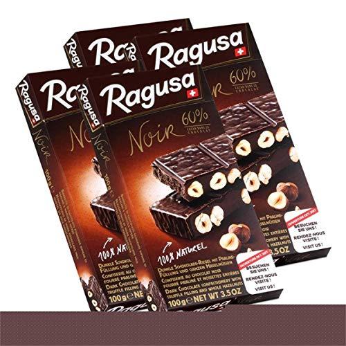 Ragusa Noir 60% dunkle Schokolade mit ganzen Haselnüssen 100g (4er Pack)