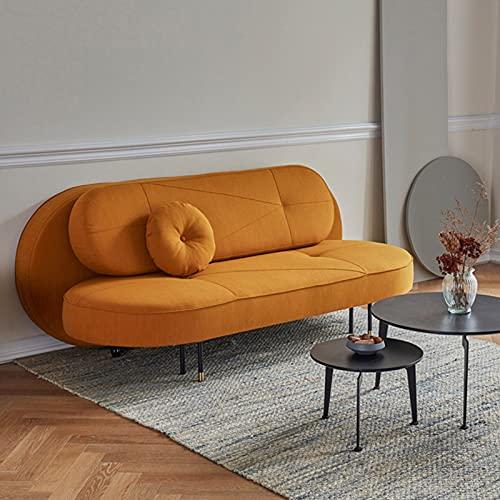Sofá Cama Nórdico Sofá Futón Plegable Creativo, Multifuncional Sofá De Tela con Patas De Metal De 3 Asientos Muebles para Sala De Estar, Dormitorio, Apartamento, 2.0M,Naranja