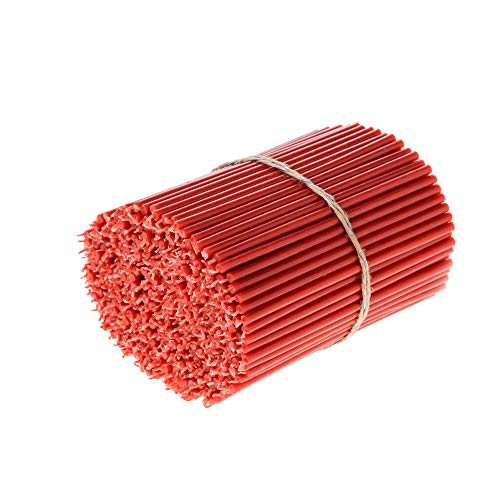 Danilovo Beeswax Taper Candles (Red) - Orthodox Church Candle Tapers for Prayer, Ritual, Christmas - No Soot, Dripless, Tall, Bendable, N80, Height 18,5 cm, Ø 6,1 mm (50 pcs - 250 g)