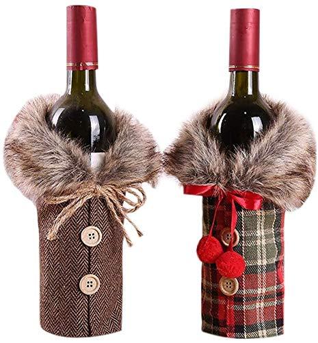 Pppby 2 fundas para botella de vino de Navidad, el mejor regalo para botellas de vino tinto bolsas de Navidad decoración de mesa de anfitriona regalo de Navidad para decoración de fiesta en el hogar