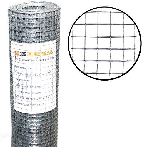 ESTEXO Volierendraht feuerverzinkt, Höhe 1,00 m 25 Meter 12 x 12 mm