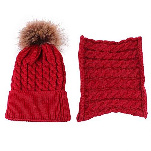 MIMORE - Gorro de punto para bebé, para invierno, cálido, con lazo de círculo, bufanda, cuello