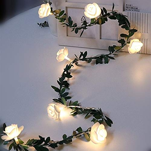 Huoguo Christmas Rose Flower Vine LED String Lights Battery Powered Fairy Lights Artificial Garland for Room Valentine's Day Decoration (Size : 6M 40leds)