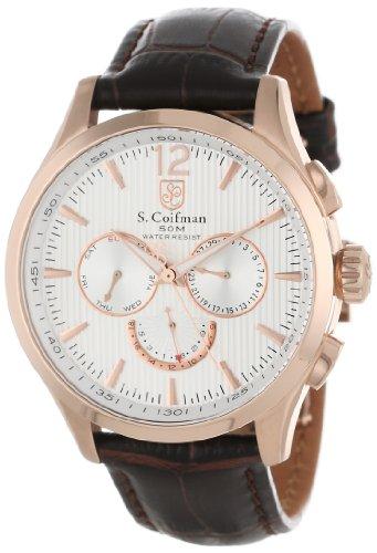 S.Coifman SC0124 Orologio da Polso, Display Cronografo, Uomo, Bracciale Pelle, Nero