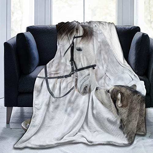 Cap pillow Manta de forro polar de 127 x 152 cm, diseño de caballo, perro Husky Winter Friends Feelings Home franela suave y cálida manta de felpa para cama/sofá/oficina/camping