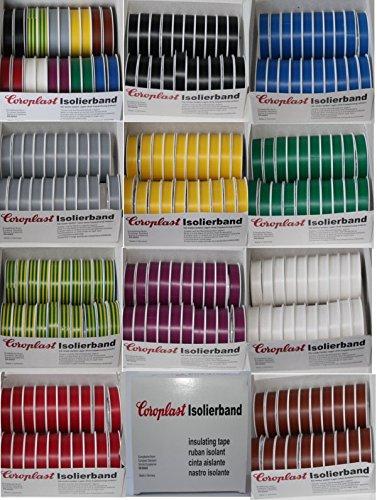 Coroplast Box verschiedene Farben VDE Isoband Elektriker Isolierband Klebeband 15mm x 10 m 20 Rollen (Grün)