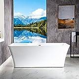 WOODBRIDGE B-0004 White 67' Acrylic Freestanding Bathtub Contemporary Soaking Tub with Brushed Nickel Overflow and Drain, BTS1609