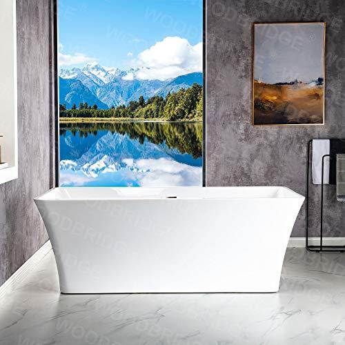 WOODBRIDGE B-0004 White 67' Acrylic Freestanding Bathtub Contemporary Soaking...