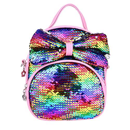 aiyvi Mädchen Bogen Kinderrucksäcke Pailletten Rucksack Glitzer Nette Mode Freizeitreise Crossbody Bag Umhängetasche Sommer (Mehrfarbig, 21 x 18cm)