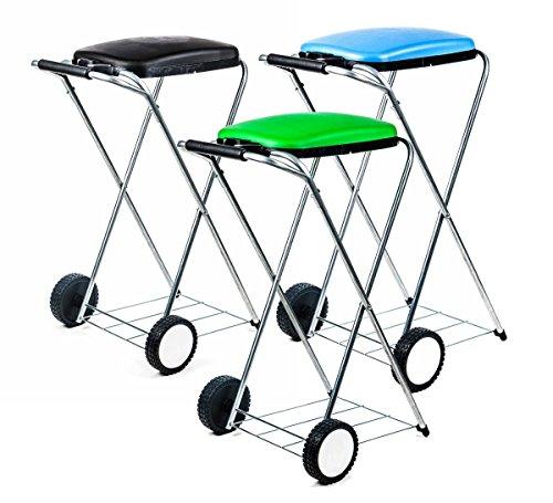 Unbekannt Müllsackständer fahrbar, mobil, Doppelrahmen, Säcke von 60 bis 130 l Volumen, lieferbar in schwarz, grün und blau