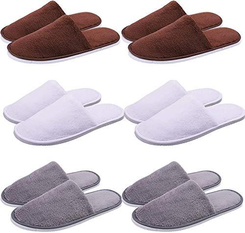 DGPH 6 Pares de Zapatillas de SPA Tercullo de algodón Terciopelo Desechable Zapatillas Desechables Zapatillas para Invitados con Punta Cerrada para la Familia y el Uso del Hotel