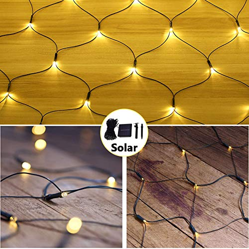 Solar Powered 100 LED Net Mesh String Lights with IP65 Waterproof & 8 Modes, 1.5M x 1.5M Dark Green Cable Fairy Icicle String Lights for Fence/Garden/Wedding Party (Warm White)