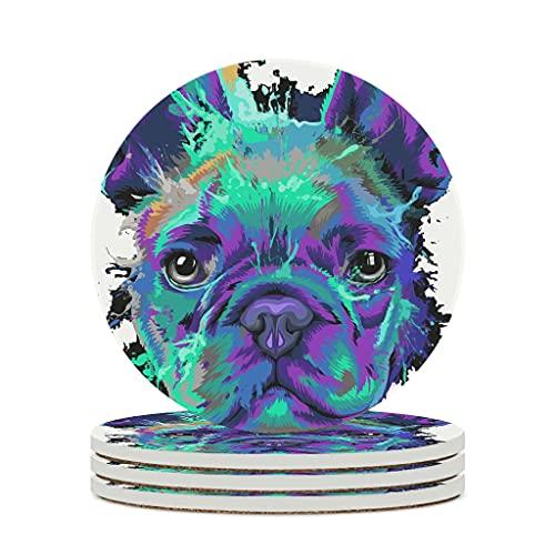 KittyliNO5 Set di 6 sottobicchieri rotondi con motivo bulldog francese, in ceramica, con fondo in sughero, per tazze, bar, vetro, colore bianco