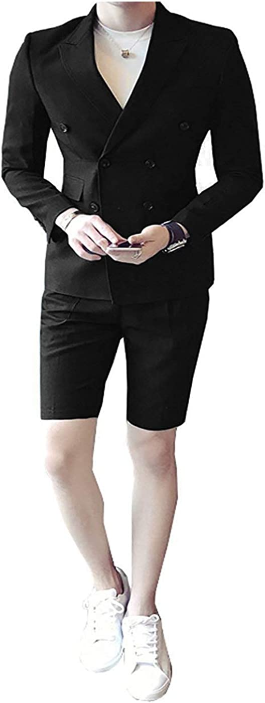 RONGKIM Men's Slim Fit 2 Pieces Double Breasted Blazer & Short Trousers Suits Summer Prom Suits (Black,44)