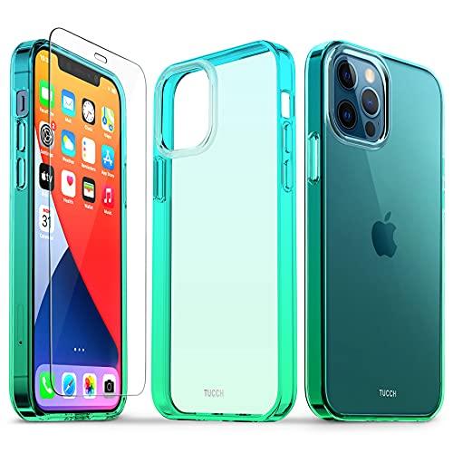 TUCCH Funda Compatible con iPhone 12/12 Pro 5G(6.1'), Carcasa Transparente para iPhone 12 Pro con Protector de Pantalla, Anti-Rasguños, Funda de Protección Completa a Prueba de Golpes, Azul y Verde
