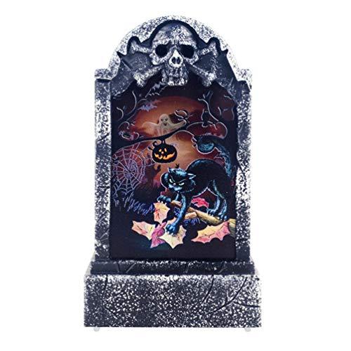 Amosfun Halloween Grabstein Dekor Katze Nachtlicht Grabstein Spukhaus beängstigend Stütze