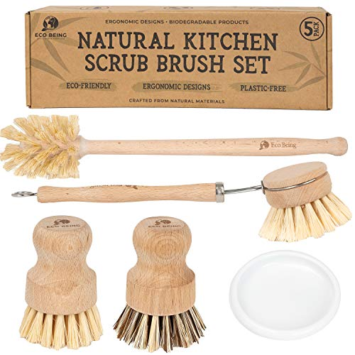 Eco Being Natural Bubble up Dish Brush Set with Soap Dispenser Bamboo Dish Brush Set with Strong Plastic Free Scrubber Brushes amp Wooden Handles ~ 5 Piece Kitchen Set Makes Cleaning Dishes Easy