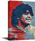 KINGAM Diego Maradona - Póster deportivo enmarcado con diseño de jugador de fútbol argentino Canve Art Chic Office Art, estirado y listo para colgar