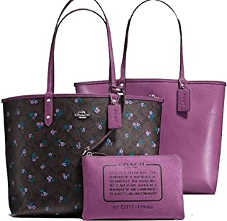 SALE ! New Authentic COACH Marvelous Mauve (Purple/Rose) Floral on Elegant Brown Monogram, Reversible Tote, 2 LOOKS in 1
