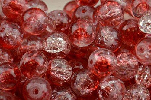 50 stks 10mm Rode & Clear Crackle Glass Kralen geschikt voor decoraties, ornamenten, kleding accessoires, bruiloft tocht, sieraden, ketting, kralen gordijnen maken en ga zo maar door