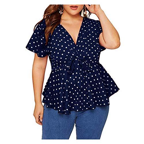 Camiseta de las mujeres Blusa de verano Blusa de verano Tallas grandes de la camisa de manga corta Top Polka Dot Nudo Blusa Frente Blusa Mujer Moda Lotus Lotus Falda Diseño Día de la Madre Regalo Rega