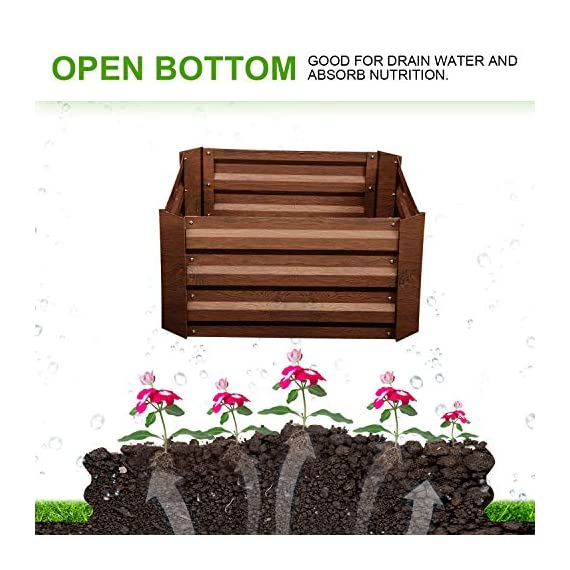Leisurelife Metal Raised Garden Bed Planter Box Kits for Vegetables Outdoor, Steel, 2x2 ft, Brown 7 【Raised Garden Bed Size】:8x4 ft, height 1ft. No bottom 【Material】: The planter box made of color steel, waterproof and anti-rust, can be used for 10 years. 【Open-bottom】: Integrating with nature, there is no trouble with standing water.