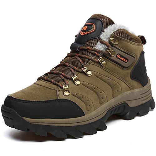 Gomnear de los Hombres Botas de montaña Trekking Zapatos Cima mas Alta Antideslizante Calentar Antideslizante Impermeable Alpinismo Zapatillas Khak-47