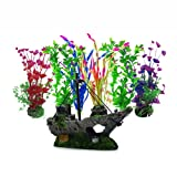 DotingU Juego de plantas acuáticas artificiales de gran tamaño para acuario, kit de decoración de plantas de naufragio, decoración de pecera, decoración de acuario y paisaje vívidamente