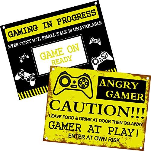 Outus 2 Stück Gaming Türschild Gamer at Work Deko Gamer Zimmer Vintage Style Fun Schild Gaming in Progress, 20x15 cm