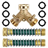 Triumpeek 3/4' Brass 2 Way Hose Splitter, Brass 2 Way Garden Hose Connector with 2 Pcs Garden Hose Coiled Spring Protectors and 6 Rubber Washers
