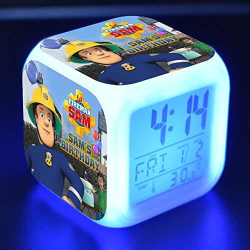 shiyueNB Feuerwehrmann Sam Cartoon Spielzeug Kinder Wecker LED Farbwechsel Digitaluhr Schreibtisch Nacht Wake Up Light Glowing
