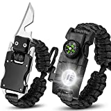 shuangjishan Paracord Knife Bracelet Adjustable Survival Cord Bracelets with Flint Fire Starter,Whistle,Compass & Scraper,Outdoor Multitool EDC Bracelet Camping Paracord