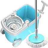 GSAGJztd Giro Fregona y Compartimiento - Mano-Libre Escurrir la Limpieza del Piso Fregona - 2 Lavable y Reutilizable mopa de Microfibra Jefes - húmedo o seco Uso