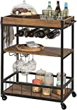 SoBuy® FKW56-N, Industrial Vintage Style Wood Metal 3 Tiers Kitchen Serving Trolley with Wine Rack
