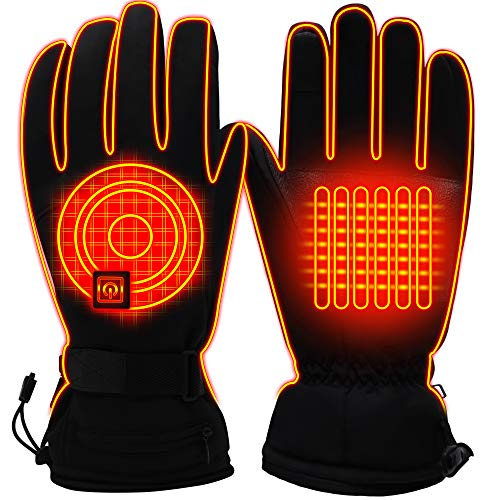 Men Women Winter Rechargeable Battery Heated Gloves Electric Heat Gloves Kit,Sports Outdoor Thermal Insulate Gloves,Touchscreen Climb Hiking Skiing Hunting Handwarmer (L, 3.7/3200mAh li-po Battery)